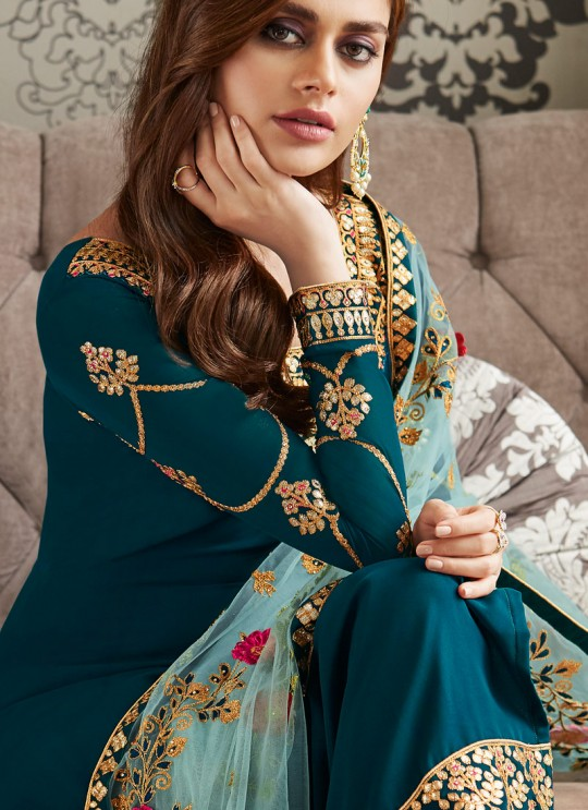 Green Georgette Embroidered Staight Cut Suits Mohra 7061 By Aashirwad  SC/016609