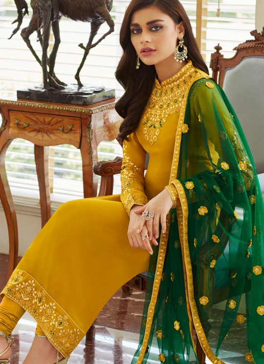 Yellow Georgette Embroidered Staight Cut Suits Mohra 7062 By Aashirwad  SC/016610