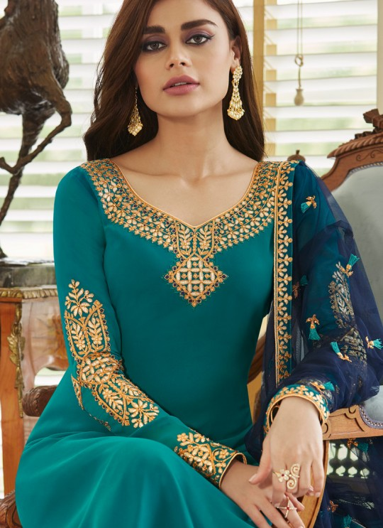 Firozi Georgette Embroidered Staight Cut Suits Mohra 7064 By Aashirwad  SC/016612