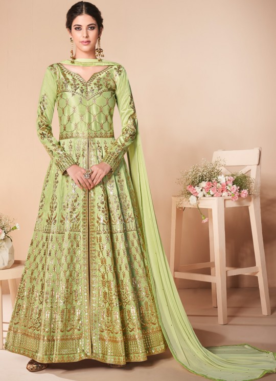 Green Mulberry Silk Embroiderd Anarkali Suit Mor Bagh Festive 7017 By Aashirwad Creation SC/016812
