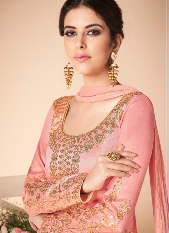 Pink Mulberry Silk Embroiderd Anarkali Suit Mor Bagh Festive 7018 By Aashirwad Creation SC/016813