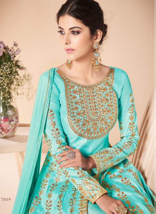 Blue Mulberry Silk Embroiderd Anarkali Suit Mor Bagh Festive 7019 By Aashirwad Creation SC/016814