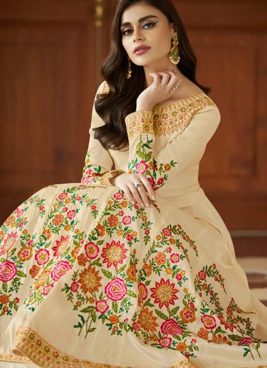 Cream Mulberry Silk Embroiderd Anarkali Suit Mor bagh Queen 7052 By Aashirwad Creation SC/016796