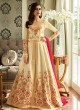 Embroiderd Anarkali Suit In Cream Color Mor bagh Queen 7053 By Aashirwad Creation SC/016797