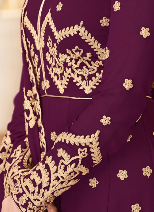 Purple Georgette Embroidered Eid Wear Abaya Style Anarkali Mor Pankh 8181 By Aashirwad Creation SC/014438