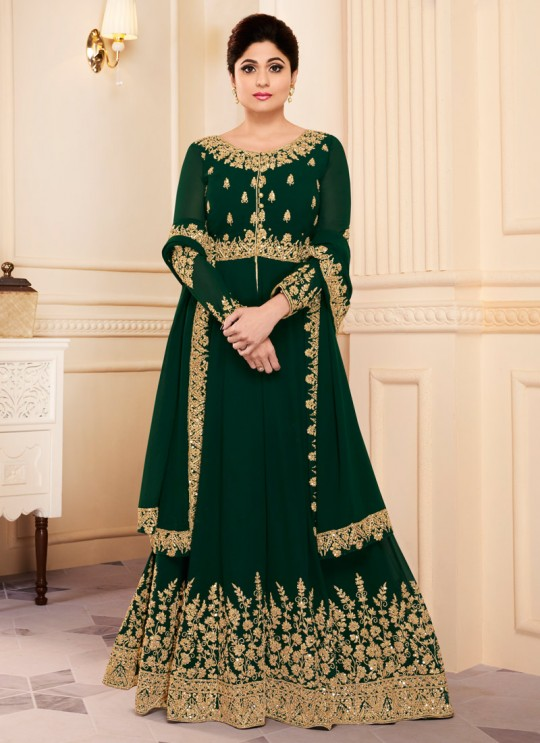 Green Georgette Embroidered Eid Wear Abaya Style Anarkali Mor Pankh 8182 By Aashirwad Creation SC/014439