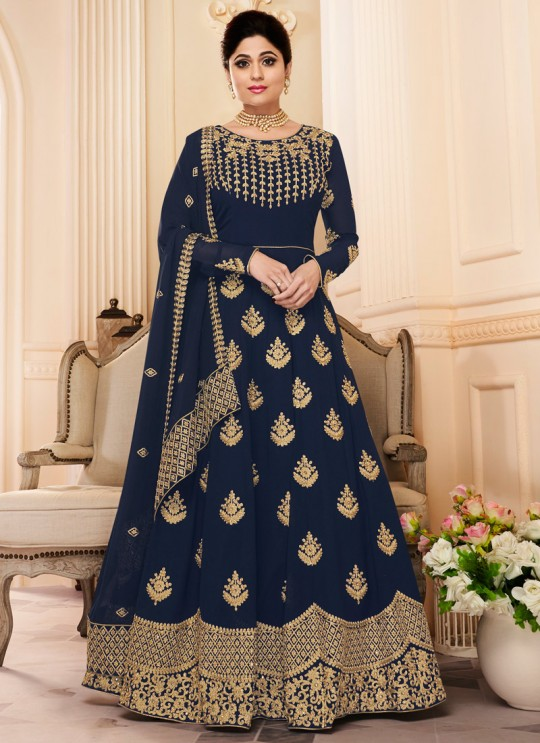 Navy Blue Georgette Embroidered Eid Wear Abaya Style Anarkali Mor Pankh 8184 By Aashirwad Creation SC/014441