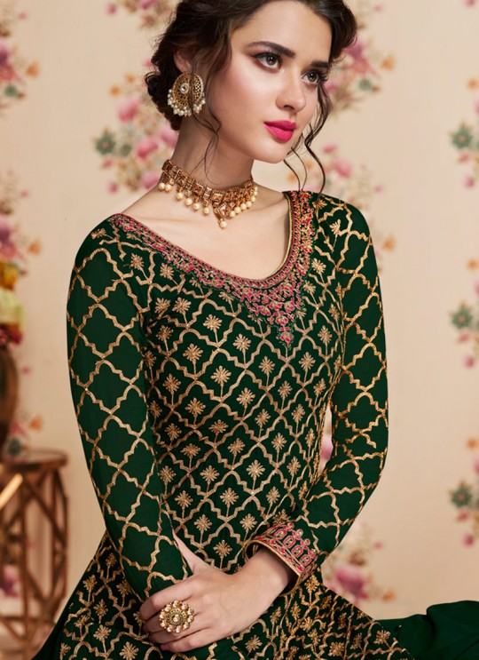 Green Georgette Embroidered Eid Wear Sharara Kameez Nafiza 8197 By Aashirwad Creation SC/014434