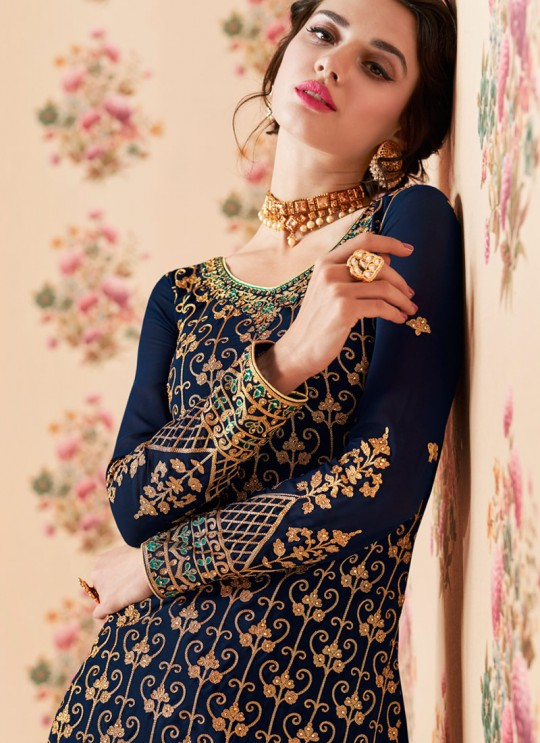 Navy Blue Georgette Embroidered Eid Wear Sharara Kameez Nafiza 8199 By Aashirwad Creation SC/014436