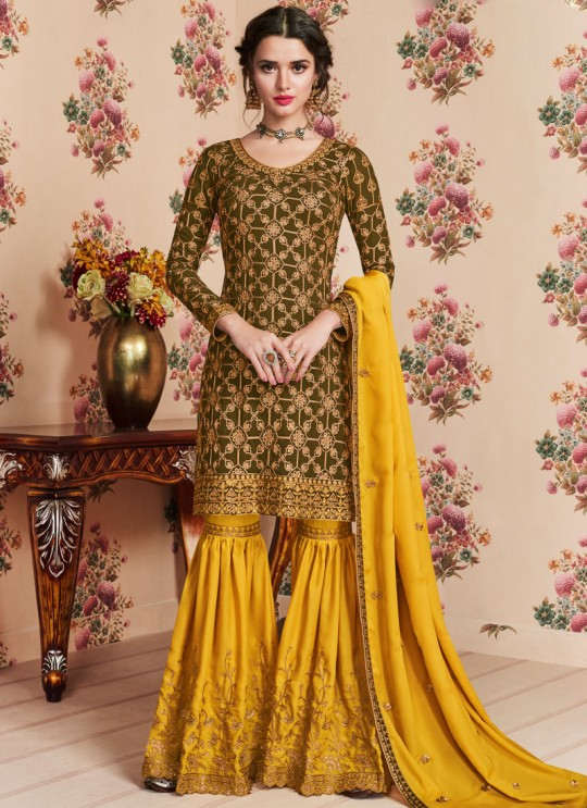 Mehandi Green Georgette Embroidered Eid Wear Sharara Kameez Nafiza 8200 By Aashirwad Creation SC/014437