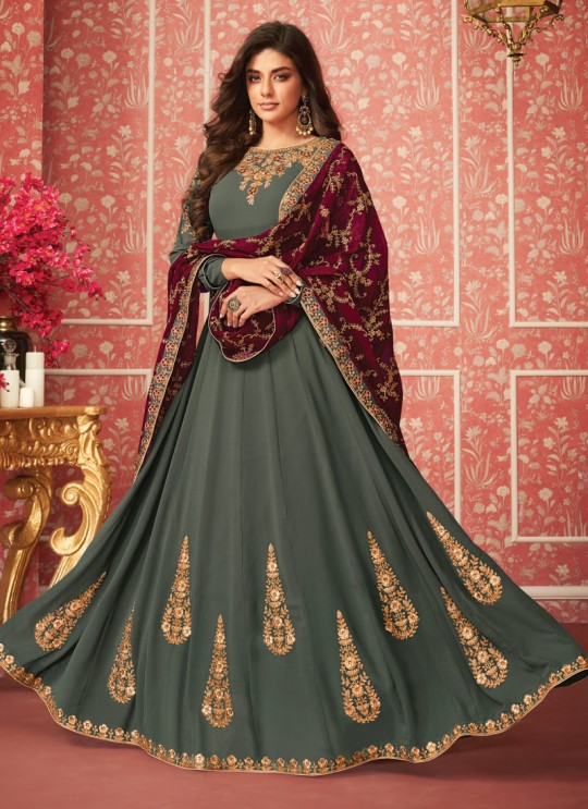 Glamorous Floor Length Anarkali In Grey Color For Bridesmaids Nusrat 8285 By Aashirwad SC/016082