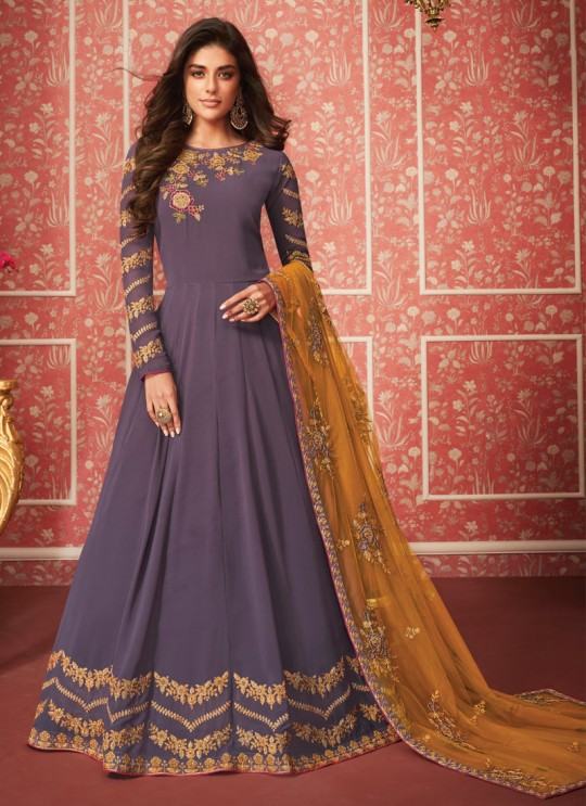Bewitching Embroidered Floor Length Anarkali In Purple  Color For Bridesmaids Nusrat 8286 By Aashirwad SC/016083