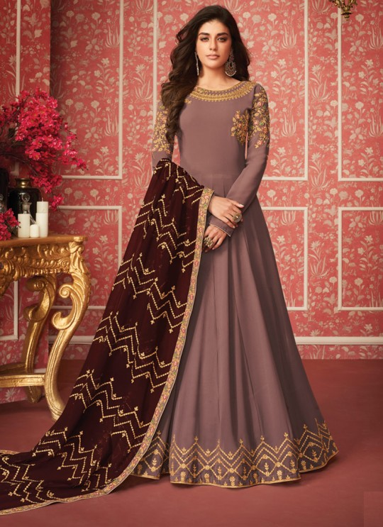 Intriguing Floor Length Anarkali In Brown Color For Bridesmaids Nusrat 8288 By Aashirwad SC/016085