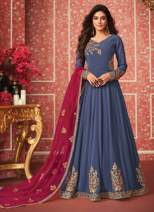 Absorbing Full Length Anarkali In Blue Color For Bridesmaids Nusrat 8289 By Aashirwad SC/016086