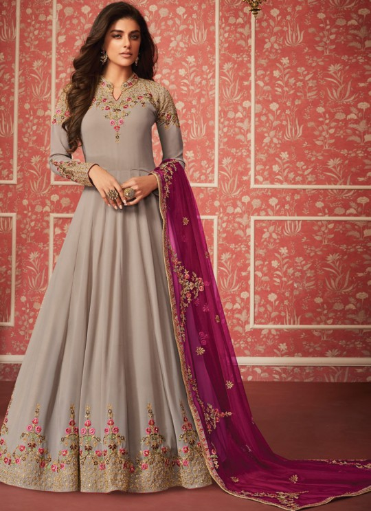 Fashionable Georgette Floor Length Anarkali In Grey Color For Bridesmaids Nusrat 8290 By Aashirwad SC/016087