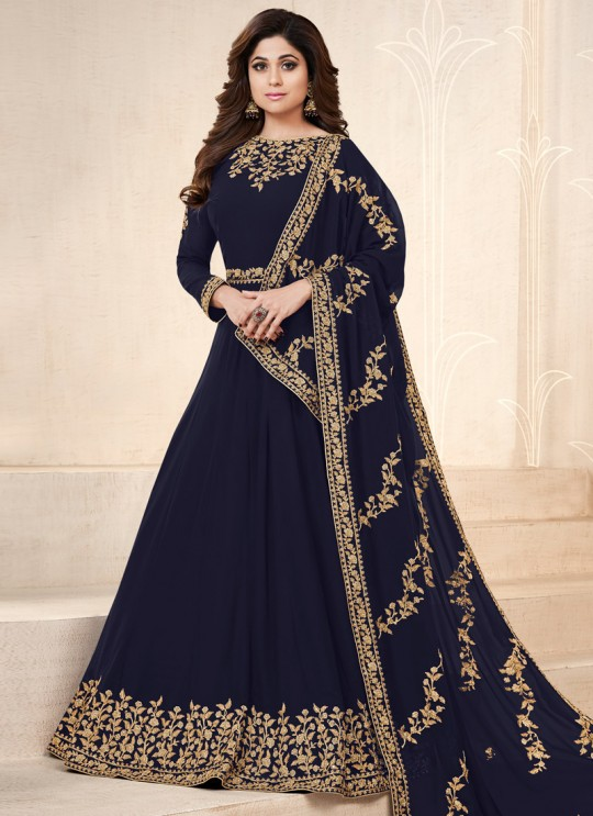 Navy Blue Georgette Embroidered Eid Wear Floor Length Anarkali Pankh Premium 8101A Color By Aashirwad Creation SC/015077