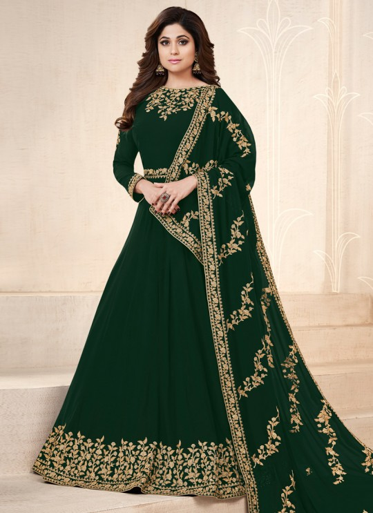 Green Georgette Embroidered Eid Wear Floor Length Anarkali Pankh Premium 8101C Color By Aashirwad Creation SC/015079