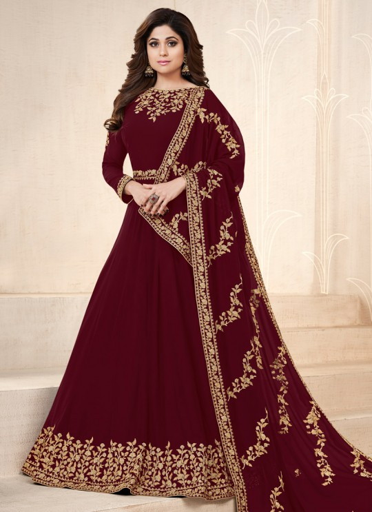 Maroon Georgette Embroidered Eid Wear Floor Length Anarkali Pankh Premium 8101E Color By Aashirwad Creation SC/015081