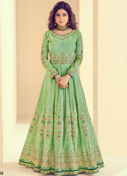 Mulberry Silk Party Designer Anarkali In Green Color Rajkumari 8002 SC/011722
