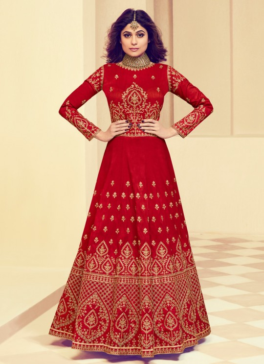 Mulberry Silk Party Designer Anarkali In Red Color Rajkumari 8005 SC/011725