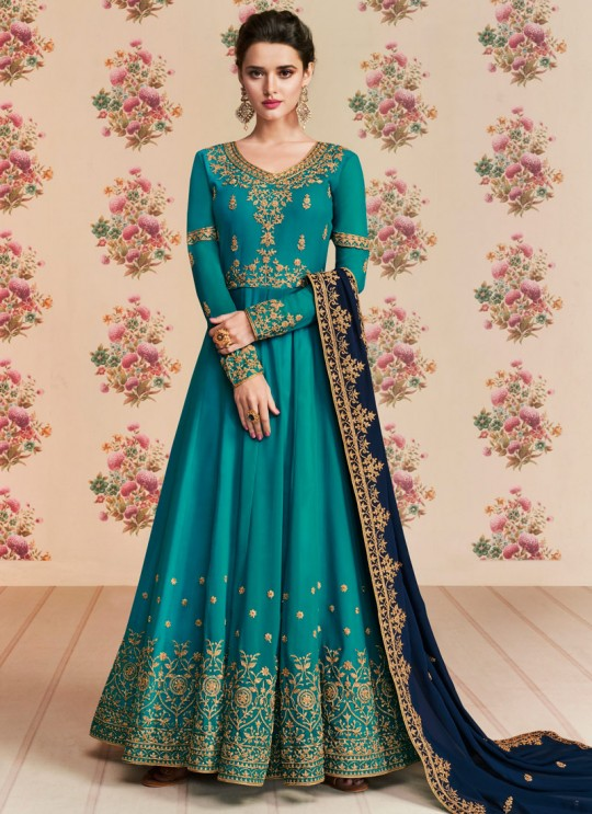 Turquoise Georgette Embroidered Eid Wear Floor Length Anarkali Rivaana 8190 By Aashirwad Creation SC/015152