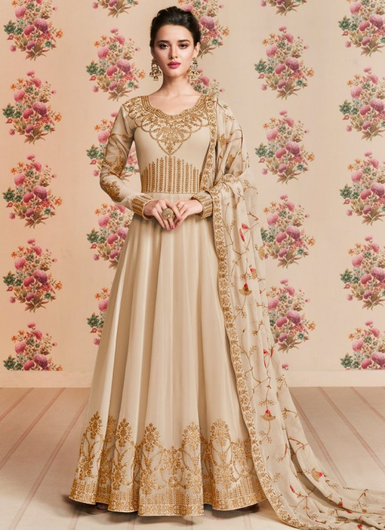 Cream Georgette Embroidered Eid Wear Floor Length Anarkali Rivaana 8191 By Aashirwad Creation SC/015153