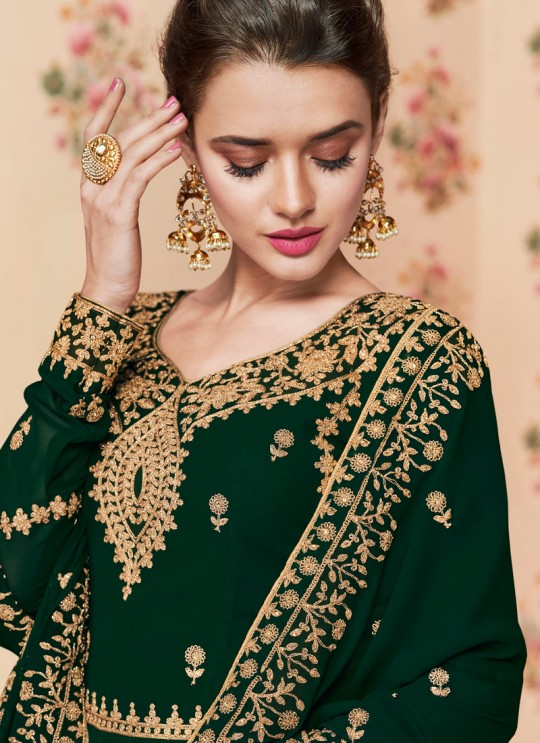 Green Georgette Embroidered Eid Wear Floor Length Anarkali Rivaana 8192 By Aashirwad Creation SC/015154