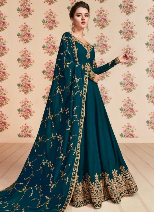Teal Blue Georgette Embroidered Eid Wear Floor Length Anarkali Rivaana 8194 By Aashirwad Creation SC/015156