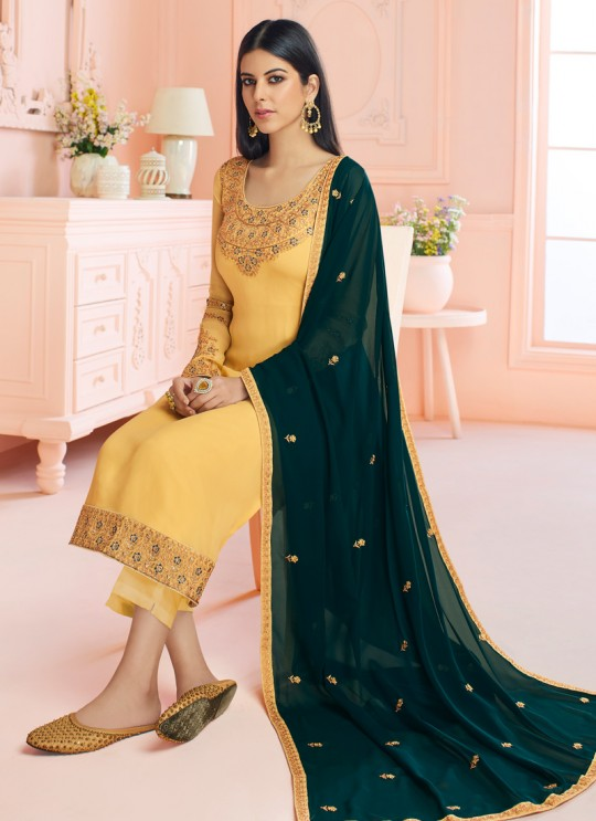 Rosy By Aashirwad 7119 Yellow Pure Georgette Straight Cut Suit