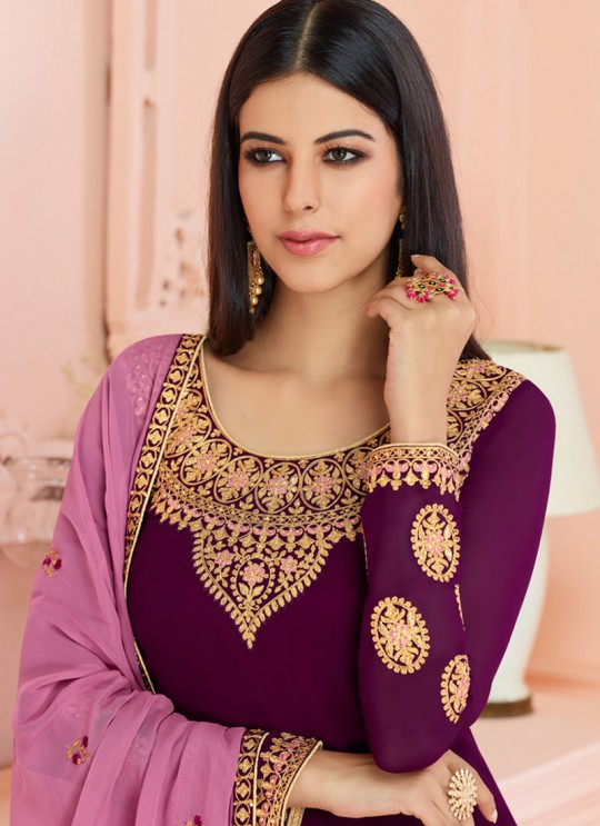 Rosy By Aashirwad 7120 Purple Pure Georgette Straight Cut Suit