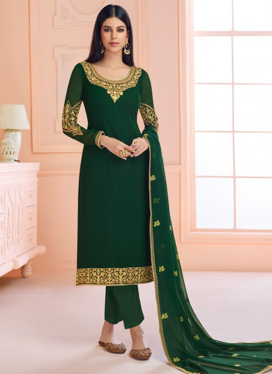 Rosy By Aashirwad 7121 Green Pure Georgette Straight Cut Suit