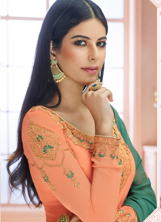 Rosy By Aashirwad 7122 Peach Pure Georgette Straight Cut Suit