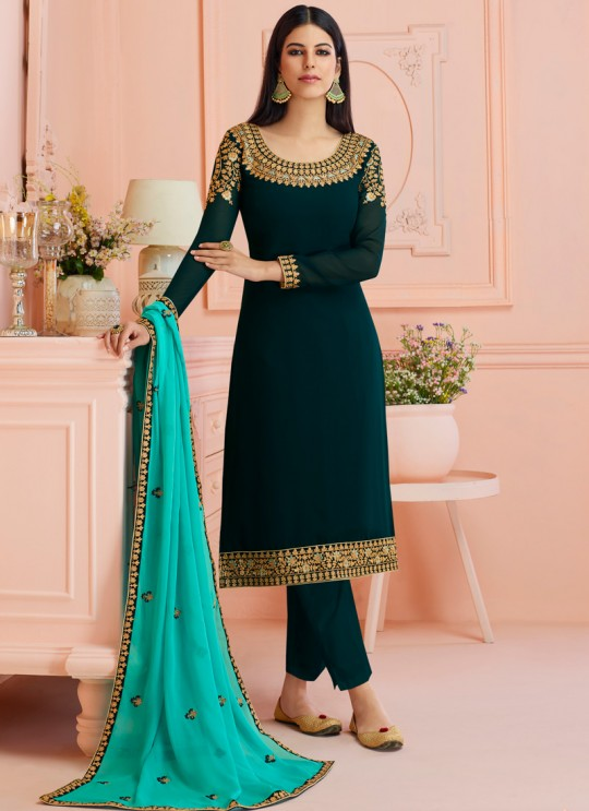 Rosy By Aashirwad 7123 Blue Pure Georgette Straight Cut Suit