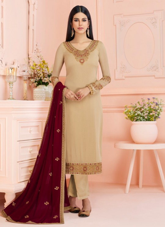 Rosy By Aashirwad 7124 Beige Pure Georgette Straight Cut Suit