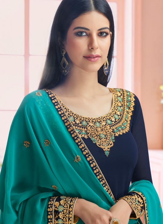 Rosy By Aashirwad 7125 Blue Pure Georgette Straight Cut Suit
