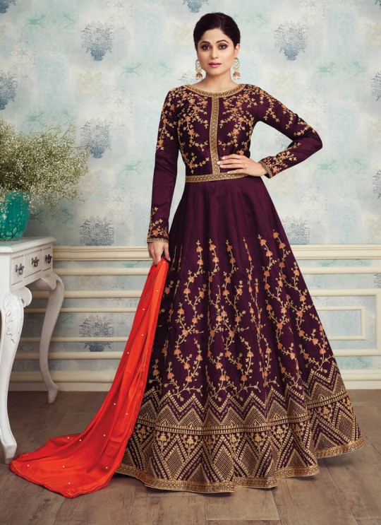 Fetching Abaya Style Anarkali In Magenta Color For Bridesmaids Royal Silk 8253 By Aashirwad SC/016088
