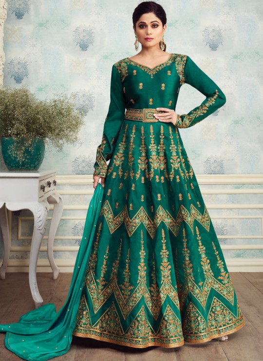 Alluring Mulberry Silk Abaya Style Anarkali In Green Color For Indian Bridesmaids Royal Silk 8254 By Aashirwad SC/016089