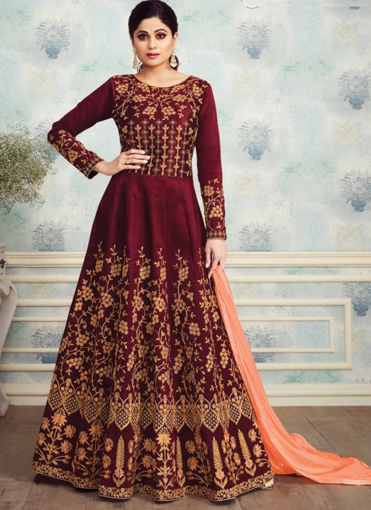 Charming Mulberry Silk Designer Anarkali For Big Fat Indian Wedding Royal Silk 8255 By Aashirwad SC/016090