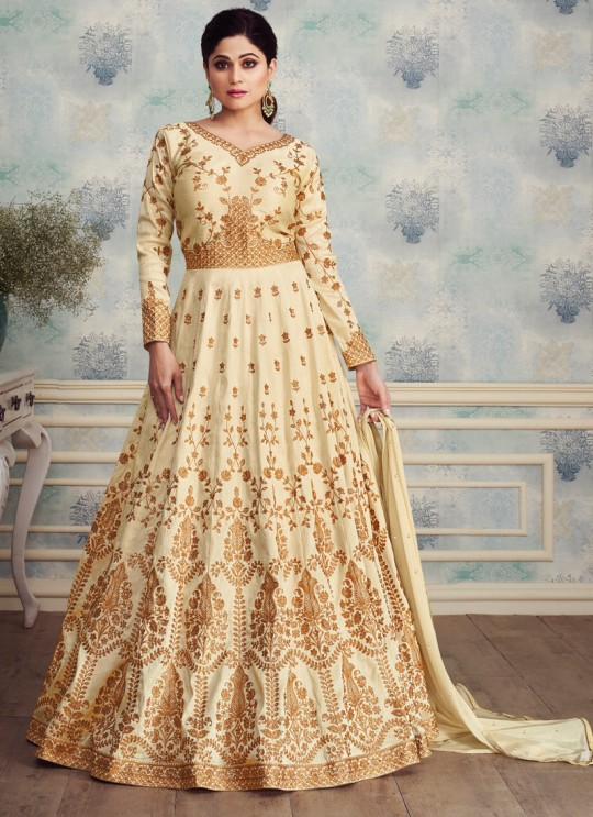 Pleasant Mulberry Silk Abaya Style Anarkali In Off White Color For Bridesmaids Royal Silk 8256 By Aashirwad SC/016091