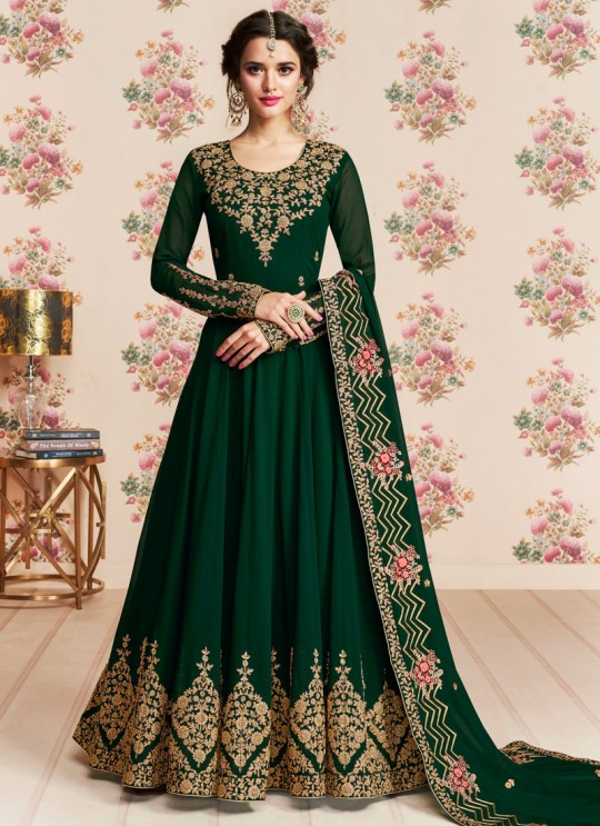 Green Georgette Embroidered Eid Wear Abaya Style Anarkali Roza 8185 By Aashirwad Creation SC/015053