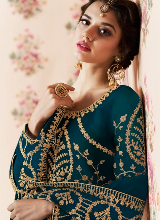 Teal Blue Georgette Embroidered Eid Wear Abaya Style Anarkali Roza 8187 By Aashirwad Creation SC/015055