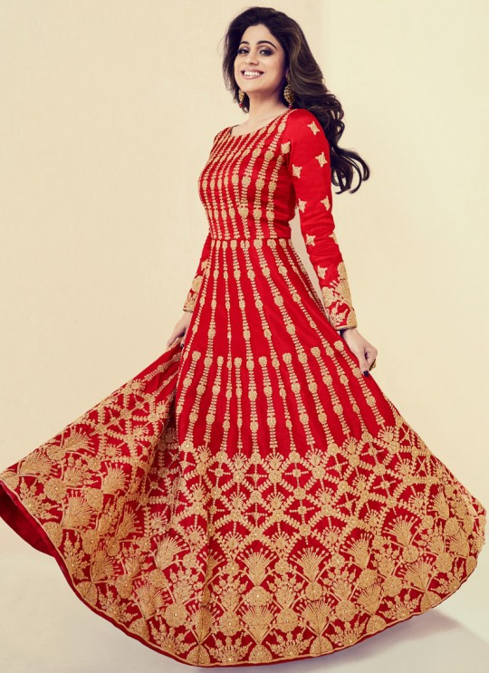 Royal Silk Festival Anarkali Suit In Red Color Saanvi 8081 SC/013193