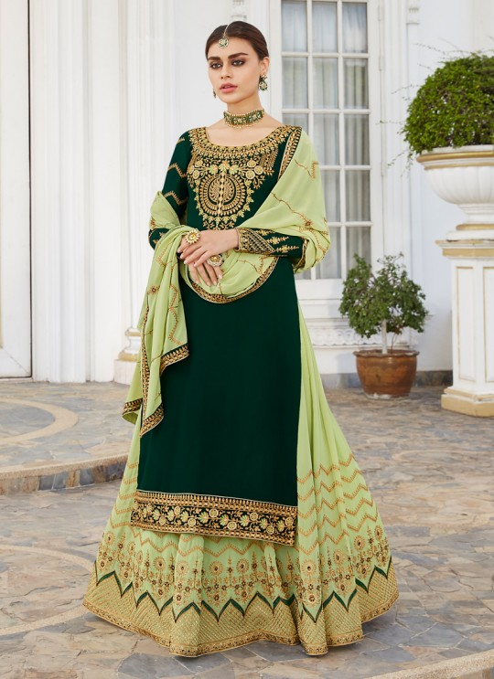 Green Georgette Embroidered Skirt Kameez Skirt 7042 By Aashirwad  SC/016566