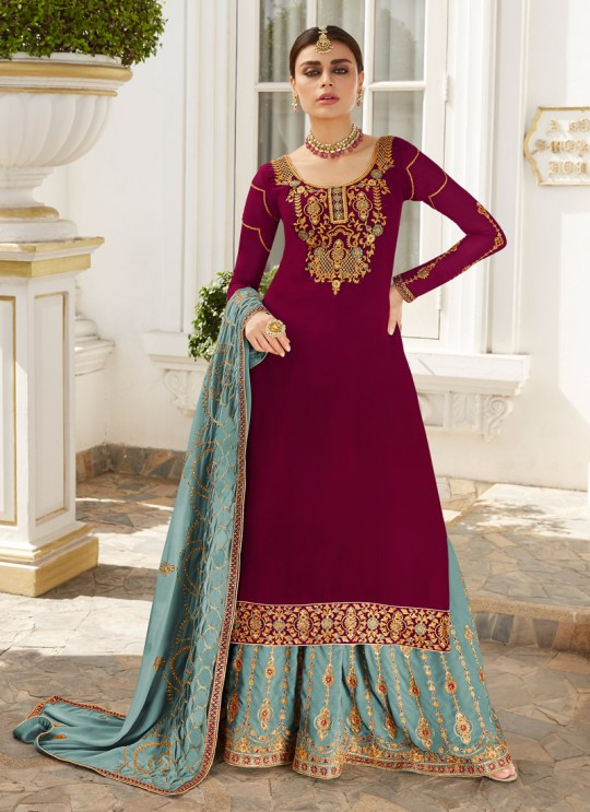 Magenta Georgette Embroidered Skirt Kameez Skirt 7043 By Aashirwad  SC/016567