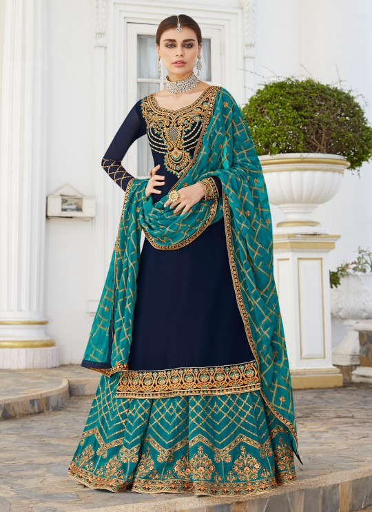 Royal Blue Georgette Embroidered Skirt Kameez Skirt 7044 By Aashirwad  SC/016568