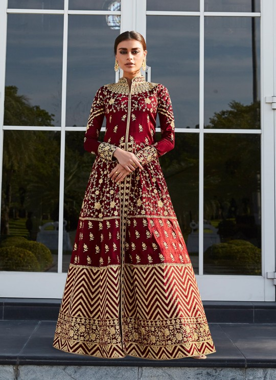 Wine Mulberry Silk Abaya Style Anarkali Taj Morbagh 7007 By Aashirwad Creation SC/016705