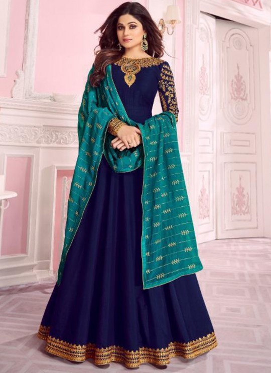 Royal Blue Dolla Silk Embroidered Gown Style Anarkali Dolla Silk 8275 By Aashirwad