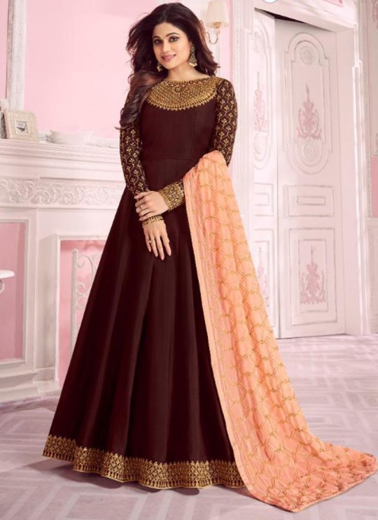 Brown Dolla Silk Embroidered Gown Style Anarkali Dolla Silk 8276 By Aashirwad