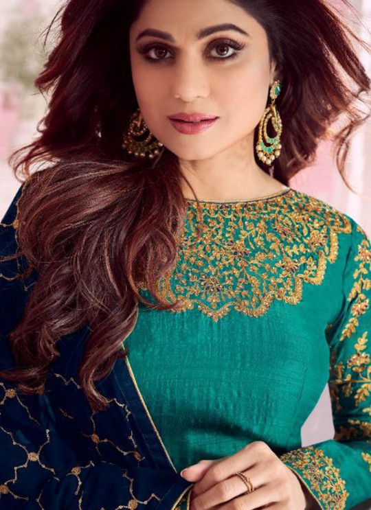 Turquoise Dolla Silk Embroidered Gown Style Anarkali Dolla Silk 8277 By Aashirwad