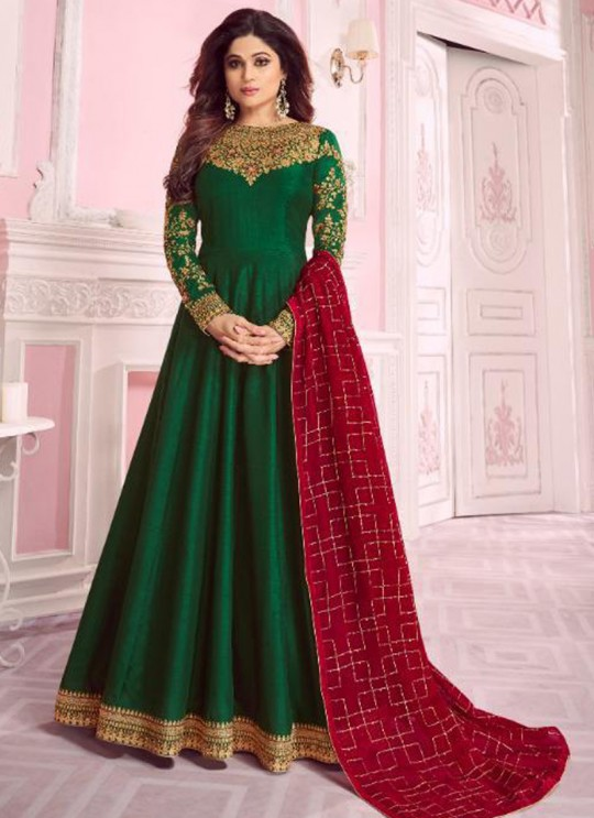 Green Dolla Silk Embroidered Gown Style Anarkali Dolla Silk 8278 By Aashirwad